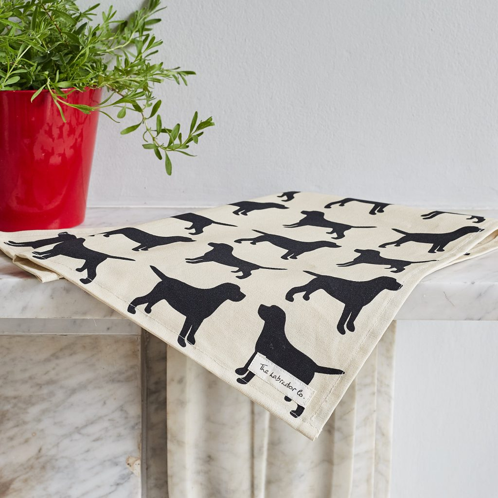 The Labrador Company-Black Labrador Print Tea Towel 2