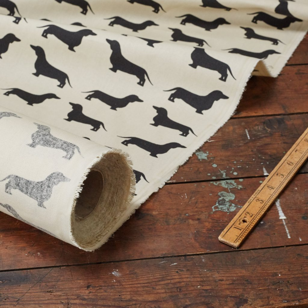 The Labrador Company-Black Printed Dachshund Cotton Drill Fabric