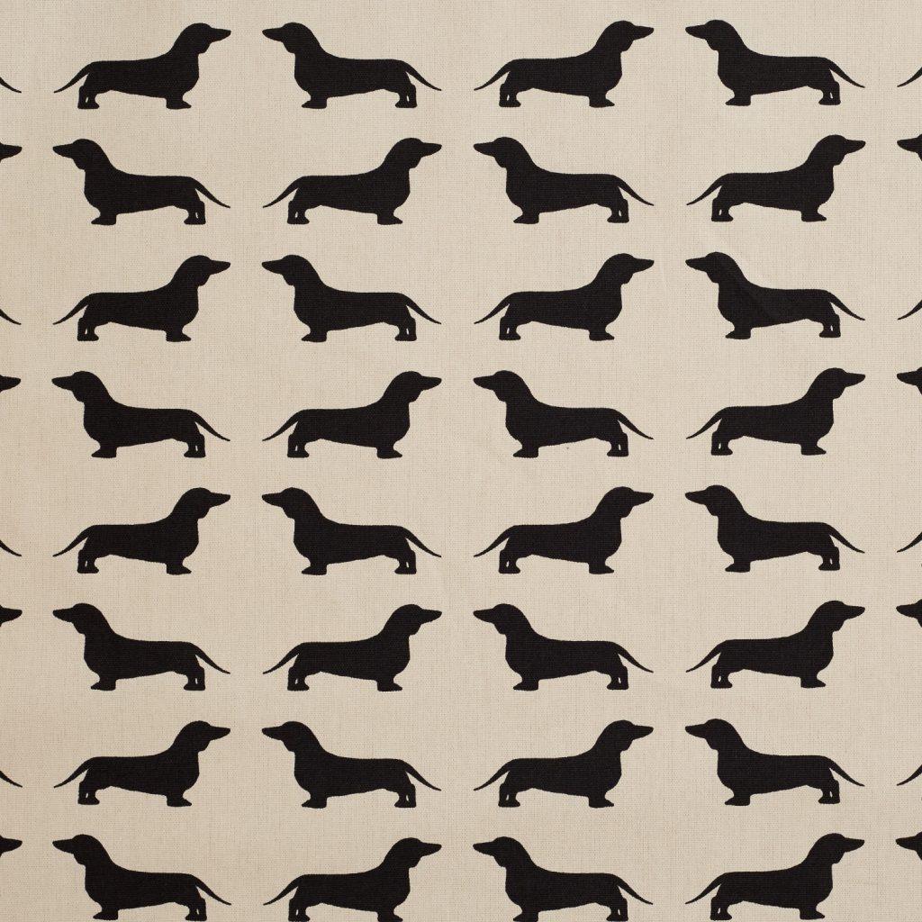 The Labrador Company-Black Printed Dachshund Cotton Drill Fabric 1