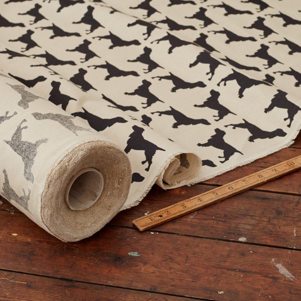 The Labrador Company-Black Printed Spaniel Cotton Drill Fabric