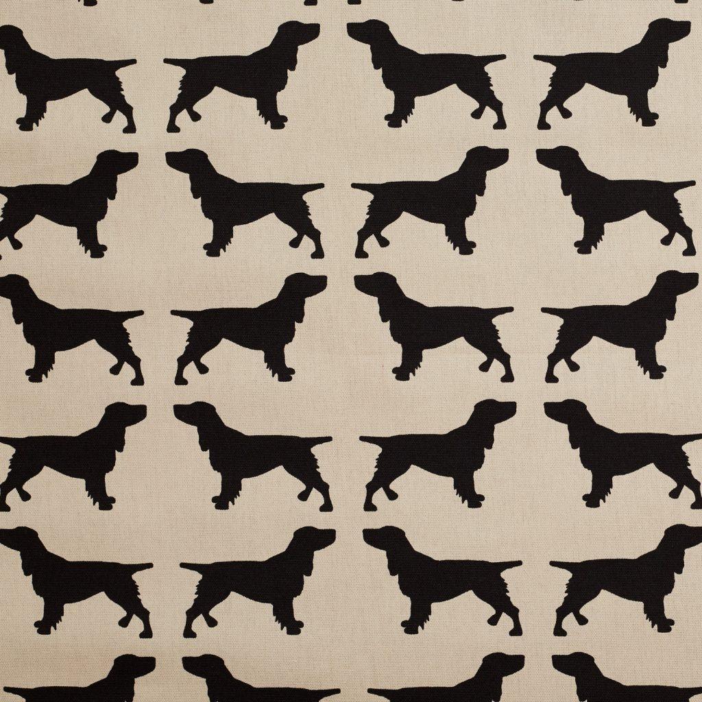 The Labrador Company-Black Printed Spaniel Cotton Drill Fabric 1