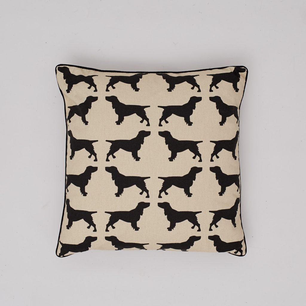 The Labrador Company-Black Spaniel Cotton Cushion 1