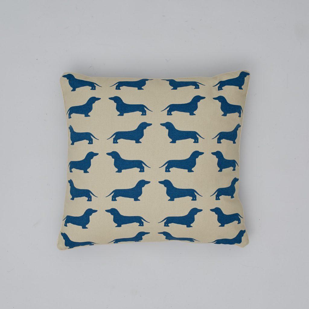 The Labrador Company-Blue Dachshund Cotton Cushion 1