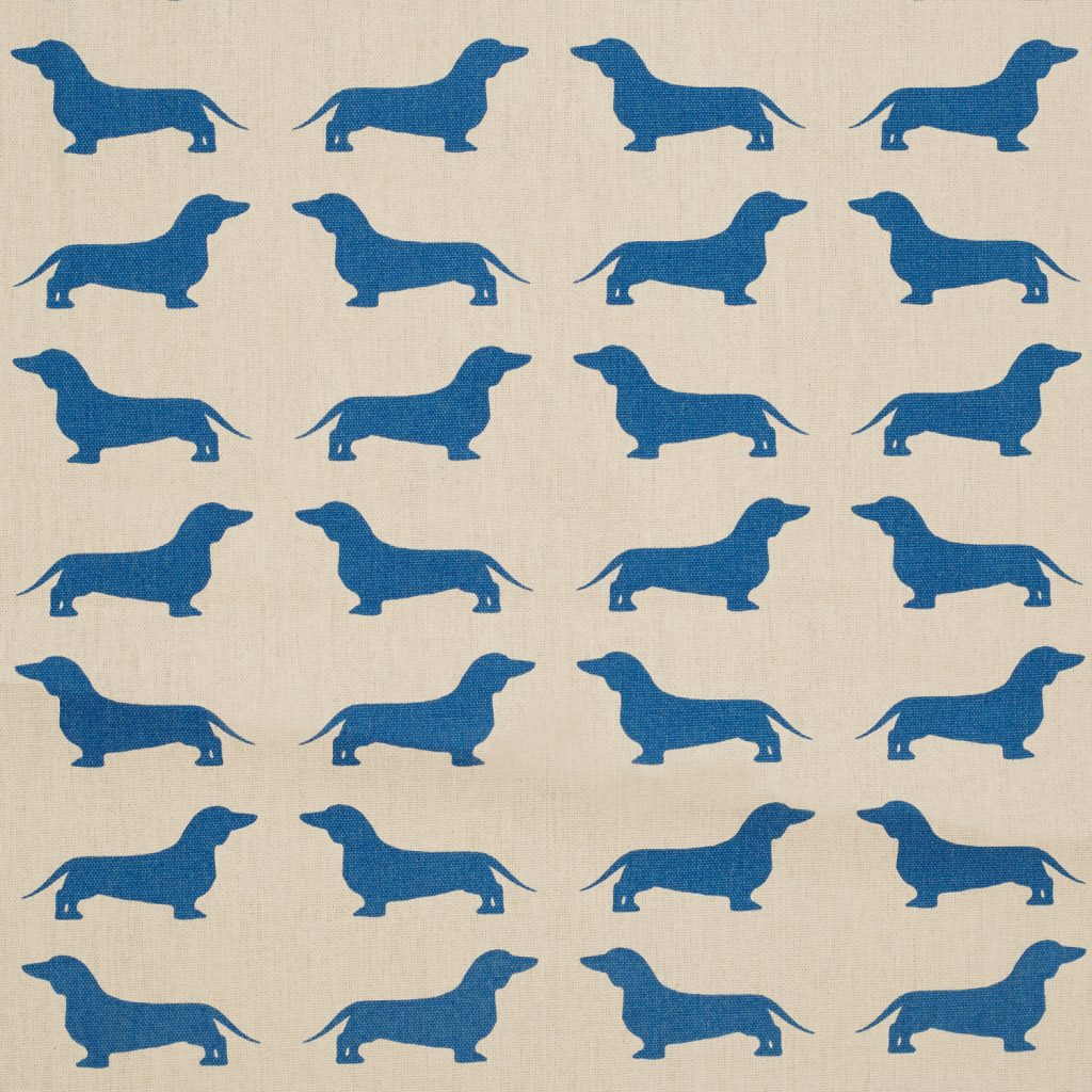 The Labrador Company-Blue  Printed Dachshund Cotton Drill Fabric 1