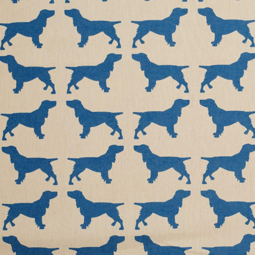 The Labrador Company-Blue Printed Spaniel Cotton Drill Fabric 1