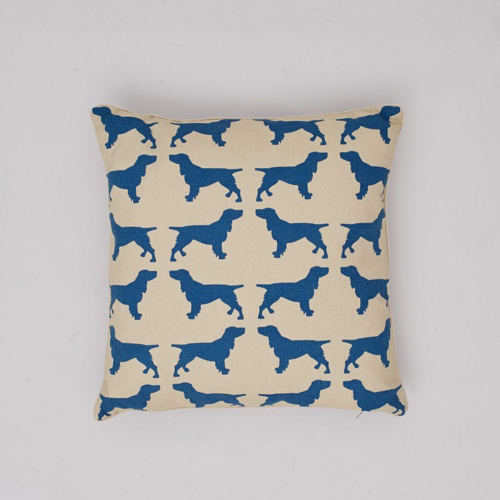 The Labrador Company-Blue Spaniel Cotton Cushion 1
