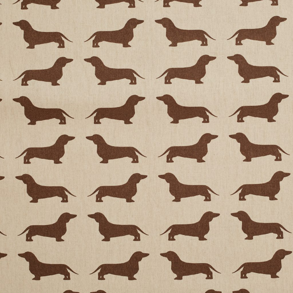 The Labrador Company-Brown Printed Dachshund Cotton Drill Fabric 1