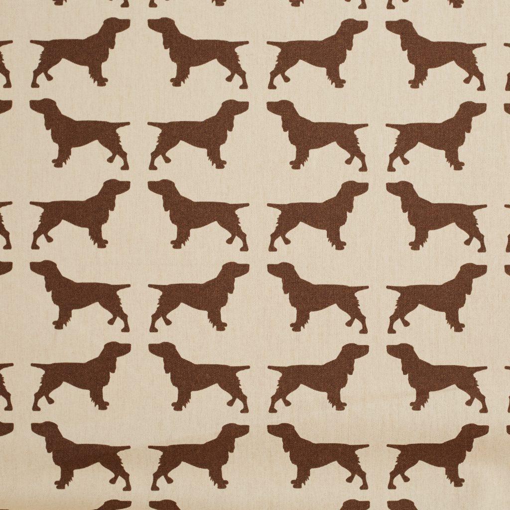 The Labrador Company-Brown Printed Spaniel Cotton Drill Fabric 1