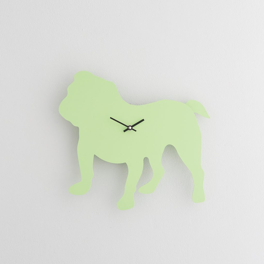 The Labrador Co.-Green British Bulldog Clock with wagging tail - last one!