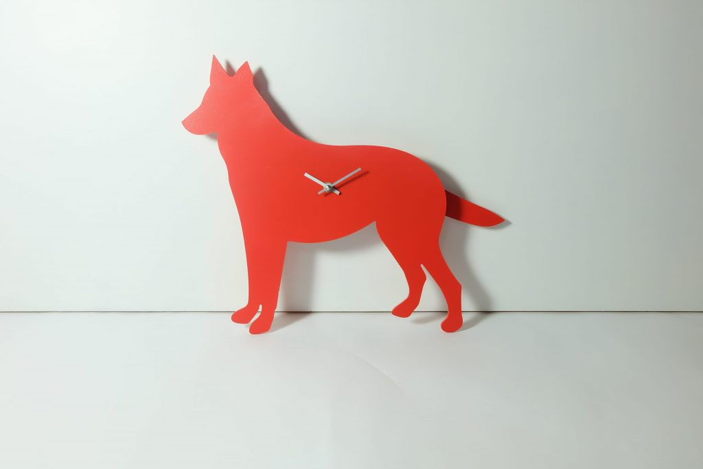 The Labrador Co.-Red German Shepherd Clock with wagging tail - last one!