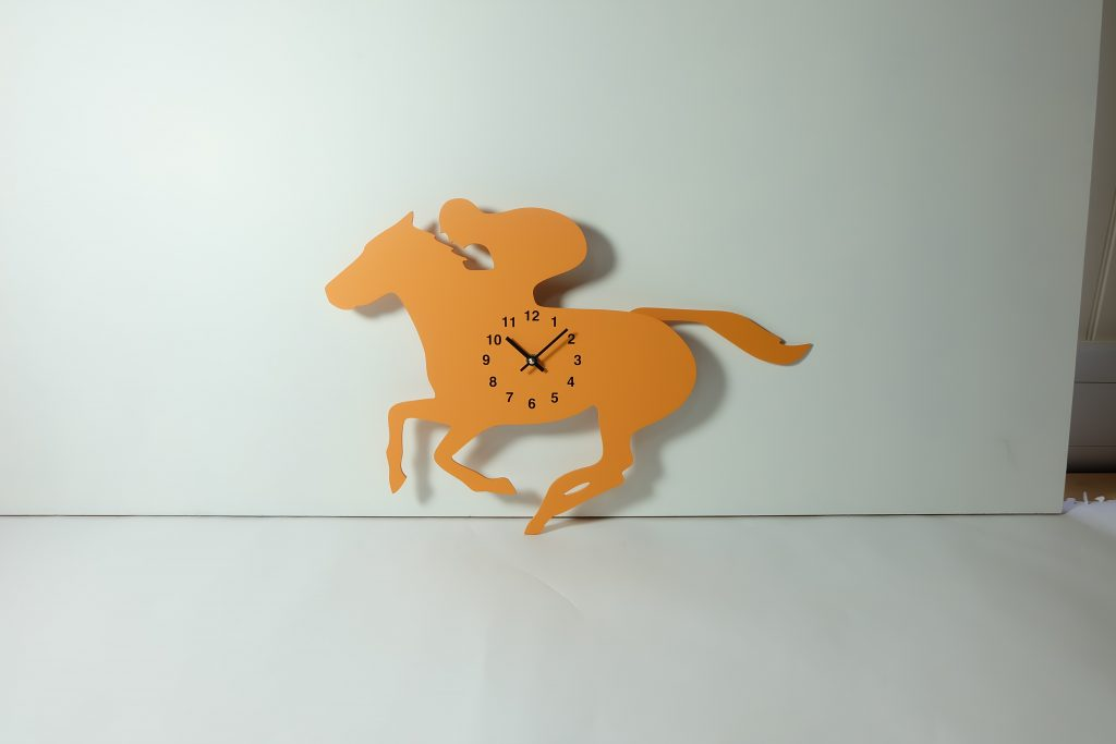 The Labrador Co.-Orange Racehorse Clock with wagging tail - last one!